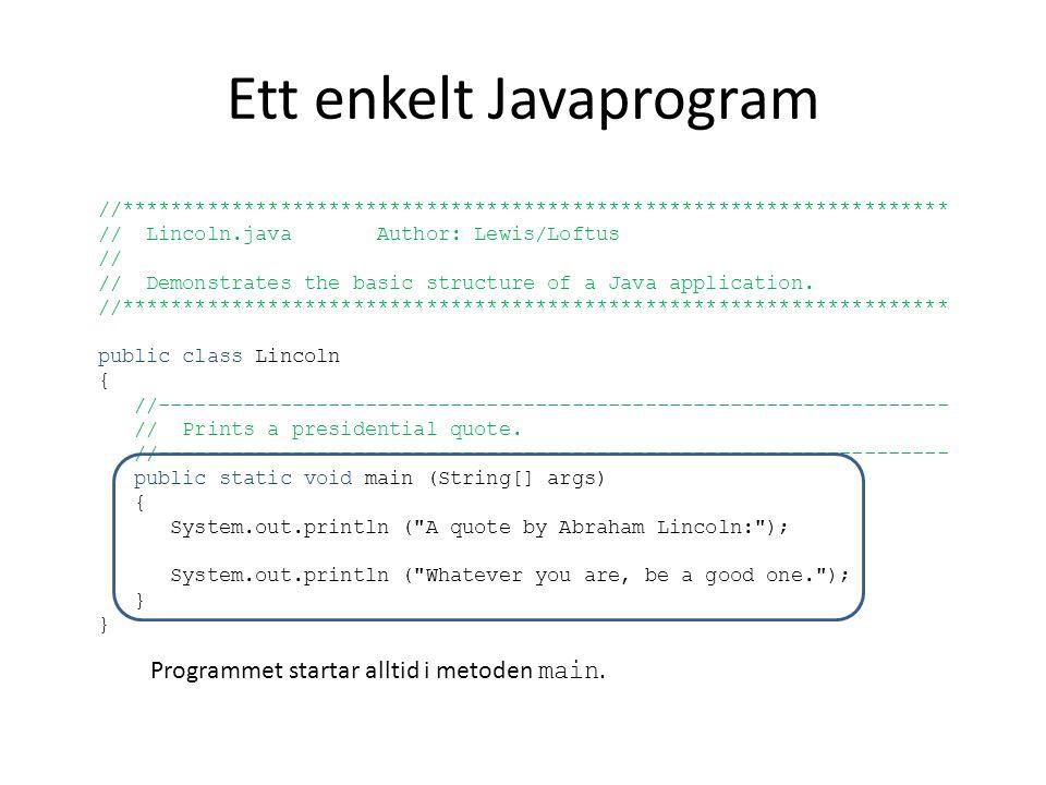 Ett enkelt Javaprogram //******************************************************************** // Lincoln.java Author: Lewis/Loftus // // Demonstrates