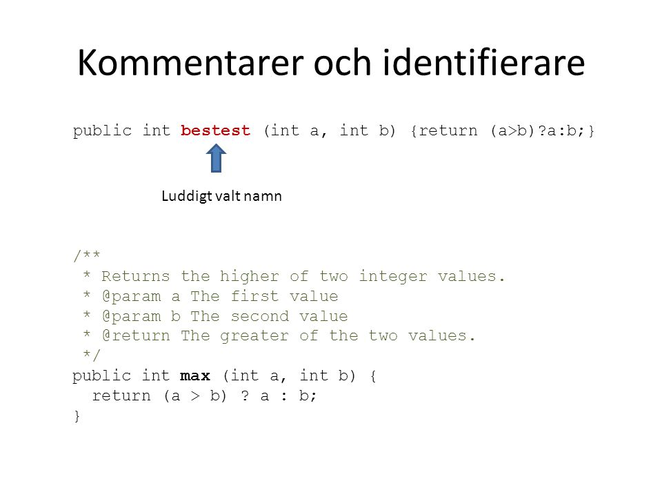 Kommentarer och identifierare public int bestest (int a, int b) {return (a>b)?a:b;} /** * Returns the higher of two integer values.