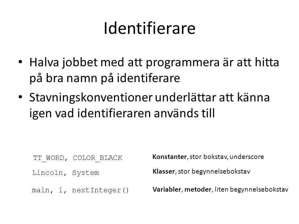 Identifierare Halva jobbet med att programmera är att hitta på bra namn på identiferare Stavningskonventioner underlättar att känna igen vad identifie