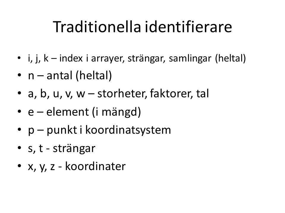 Traditionella identifierare i, j, k – index i arrayer, strängar, samlingar (heltal) n – antal (heltal) a, b, u, v, w – storheter, faktorer, tal e – el
