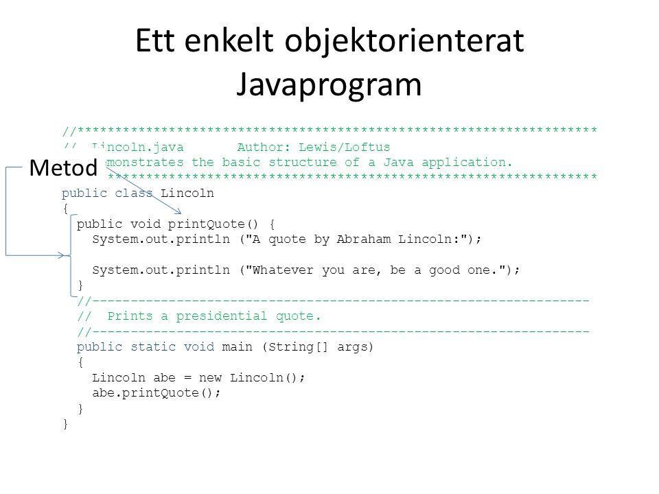 Ett enkelt objektorienterat Javaprogram //******************************************************************** // Lincoln.java Author: Lewis/Loftus //