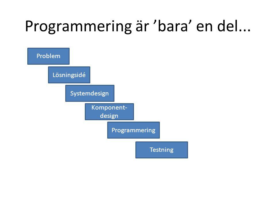 Programmering är 'bara' en del... Problem Lösningsidé Systemdesign Komponent- design Programmering Testning