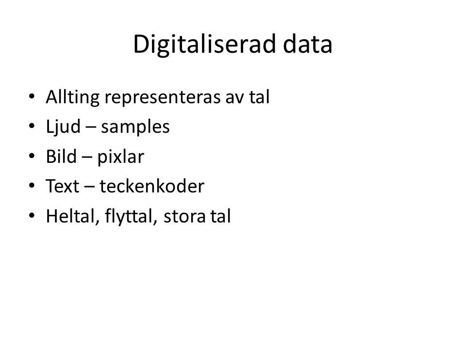 Digitaliserad data Allting representeras av tal Ljud – samples Bild – pixlar Text – teckenkoder Heltal, flyttal, stora tal
