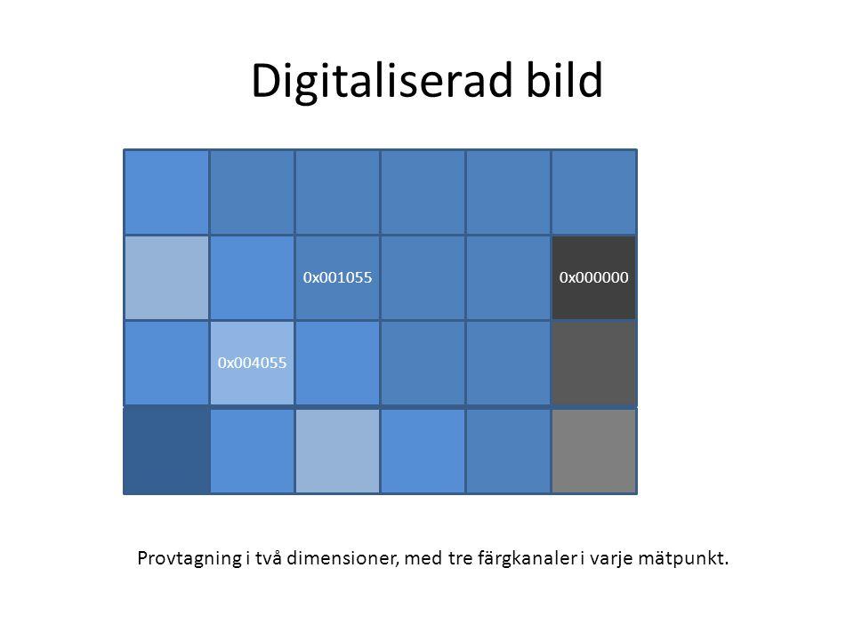 Digitaliserad bild 0x0010550x000000 0x004055 Provtagning i två dimensioner, med tre färgkanaler i varje mätpunkt.