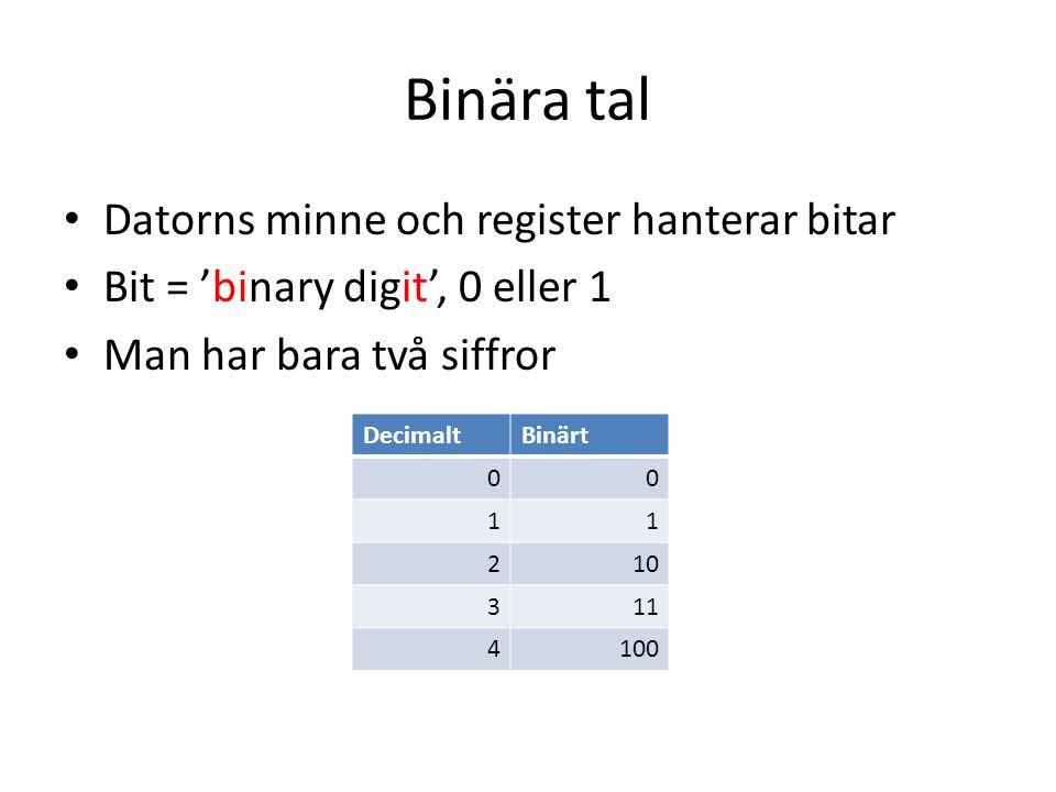 Binära tal Datorns minne och register hanterar bitar Bit = 'binary digit', 0 eller 1 Man har bara två siffror DecimaltBinärt 00 11 210 311 4100