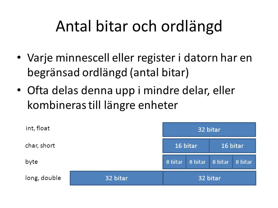 Antal bitar och ordlängd Varje minnescell eller register i datorn har en begränsad ordlängd (antal bitar) Ofta delas denna upp i mindre delar, eller k