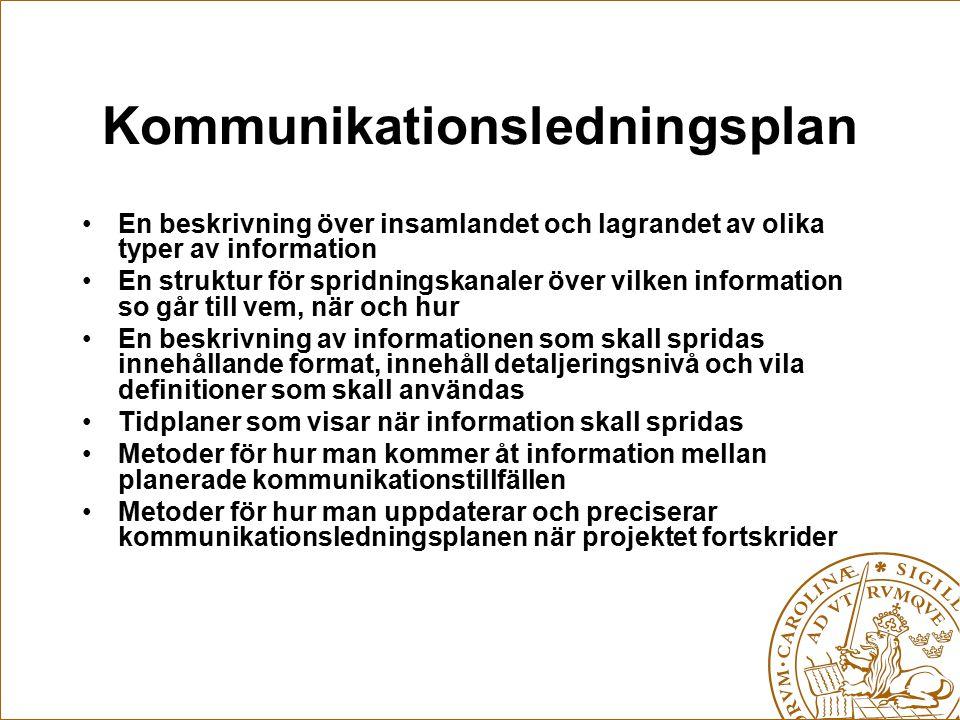 Kommunikationsledningsplan En beskrivning över insamlandet och lagrandet av olika typer av information En struktur för spridningskanaler över vilken i