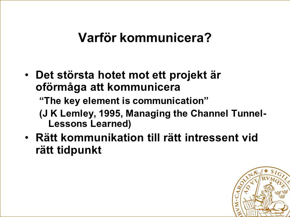 """Varför kommunicera? Det största hotet mot ett projekt är oförmåga att kommunicera """"The key element is communication"""" (J K Lemley, 1995, Managing the C"""
