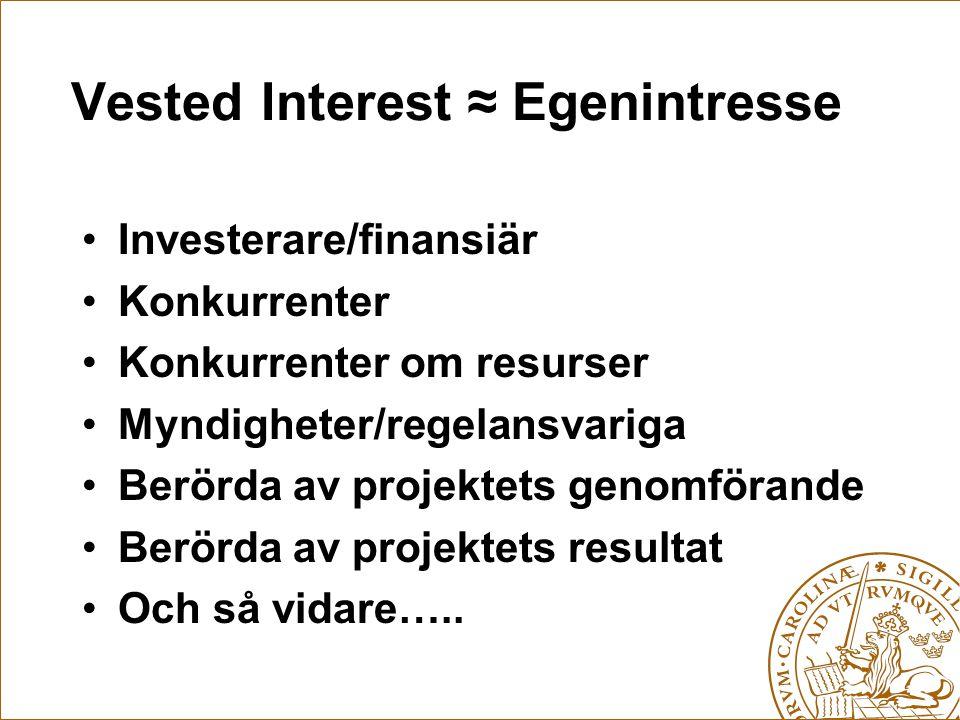 Vested Interest ≈ Egenintresse Investerare/finansiär Konkurrenter Konkurrenter om resurser Myndigheter/regelansvariga Berörda av projektets genomföran