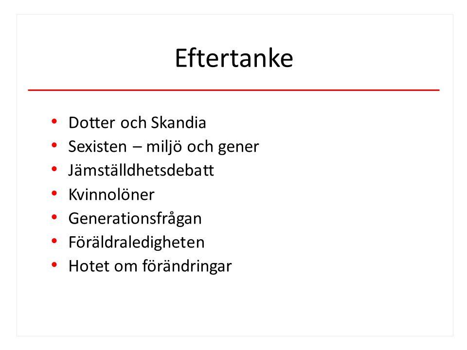 Eftertanke Dotter och Skandia Sexisten – miljö och gener Jämställdhetsdebatt Kvinnolöner Generationsfrågan Föräldraledigheten Hotet om förändringar