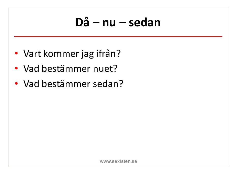 Då – nu – sedan Vart kommer jag ifrån? Vad bestämmer nuet? Vad bestämmer sedan? www.sexisten.se
