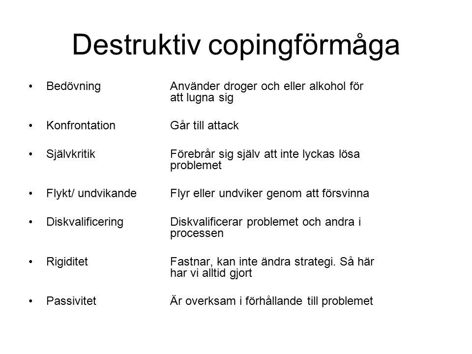 Destruktiv copingförmåga BedövningAnvänder droger och eller alkohol för att lugna sig KonfrontationGår till attack SjälvkritikFörebrår sig själv att i