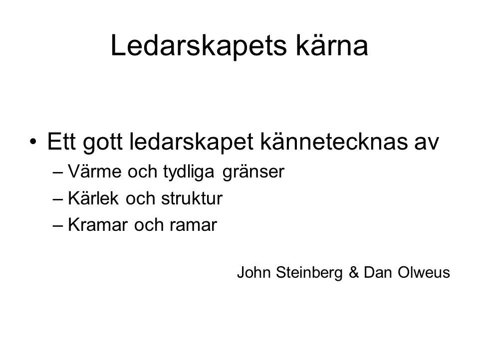 Ledarskapets kärna Ett gott ledarskapet kännetecknas av –Värme och tydliga gränser –Kärlek och struktur –Kramar och ramar John Steinberg & Dan Olweus