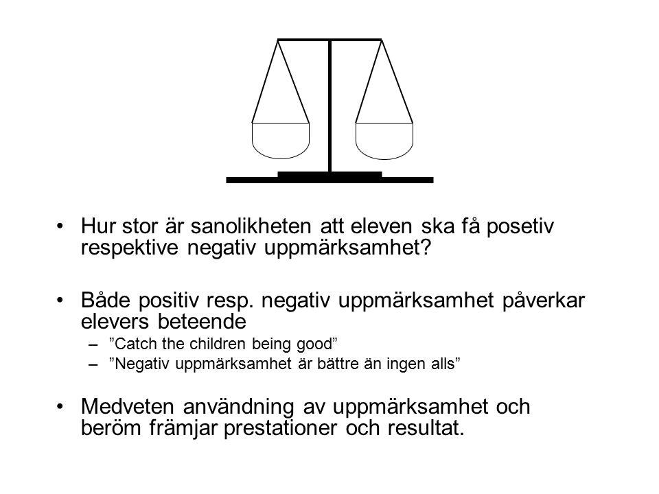 Hur stor är sanolikheten att eleven ska få posetiv respektive negativ uppmärksamhet? Både positiv resp. negativ uppmärksamhet påverkar elevers beteend