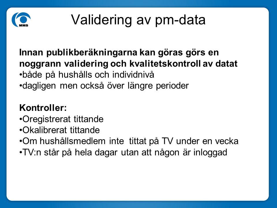 Validering av pm-data Innan publikberäkningarna kan göras görs en noggrann validering och kvalitetskontroll av datat både på hushålls och individnivå dagligen men också över längre perioder Kontroller: Oregistrerat tittande Okalibrerat tittande Om hushållsmedlem inte tittat på TV under en vecka TV:n står på hela dagar utan att någon är inloggad