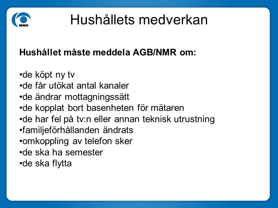 Hushållets medverkan Hushållet måste meddela AGB/NMR om: de köpt ny tv de får utökat antal kanaler de ändrar mottagningssätt de kopplat bort basenhete