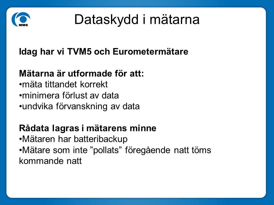 Dataskydd i mätarna Idag har vi TVM5 och Eurometermätare Mätarna är utformade för att: mäta tittandet korrekt minimera förlust av data undvika förvanskning av data Rådata lagras i mätarens minne Mätaren har batteribackup Mätare som inte pollats föregående natt töms kommande natt