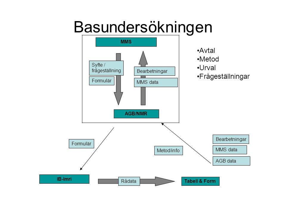 Basundersökningen- Fält Formulär IB-Imri Rådata Metod/info Bearbetningar MMS data AGB data Tabell & Form MMS Syfte / frågeställning AGB/NMR Bearbetningar MMS data Formulär Telefonintervjuer Data till T&F