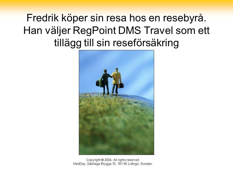 Copyright  2004, All rights reserved MedDay, Gåshaga Brygga 10, 181 66 Lidingö, Sweden Fredrik köper sin resa hos en resebyrå. Han väljer RegPoint DM