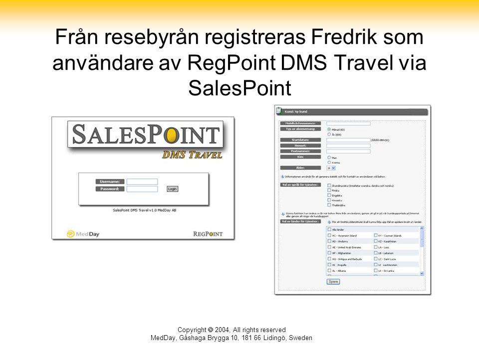 Copyright  2004, All rights reserved MedDay, Gåshaga Brygga 10, 181 66 Lidingö, Sweden Från resebyrån registreras Fredrik som användare av RegPoint DMS Travel via SalesPoint