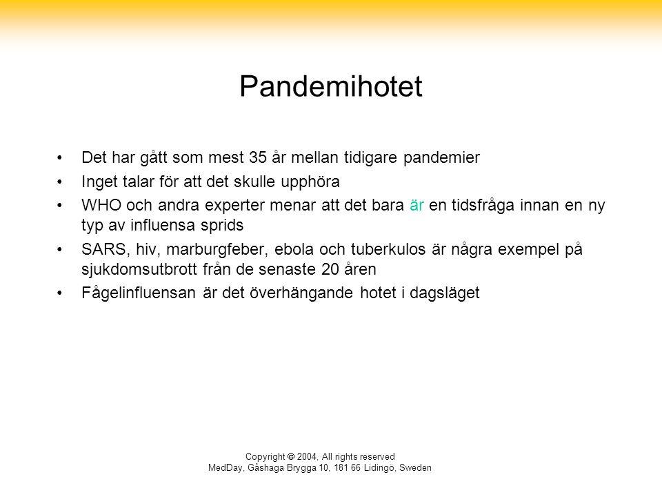 Copyright  2004, All rights reserved MedDay, Gåshaga Brygga 10, 181 66 Lidingö, Sweden Pandemihotet Det har gått som mest 35 år mellan tidigare pandemier Inget talar för att det skulle upphöra WHO och andra experter menar att det bara är en tidsfråga innan en ny typ av influensa sprids SARS, hiv, marburgfeber, ebola och tuberkulos är några exempel på sjukdomsutbrott från de senaste 20 åren Fågelinfluensan är det överhängande hotet i dagsläget