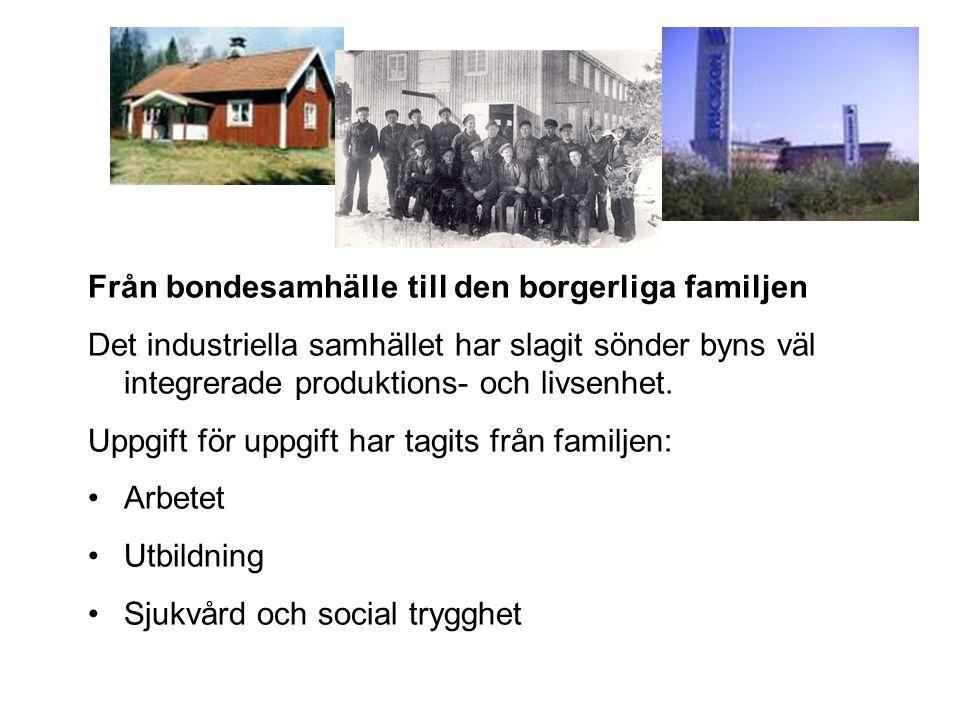 Från bondesamhälle till den borgerliga familjen Det industriella samhället har slagit sönder byns väl integrerade produktions- och livsenhet. Uppgift