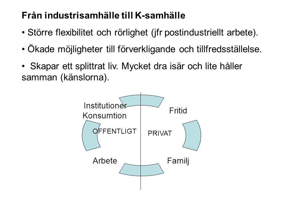 Från industrisamhälle till K-samhälle Större flexibilitet och rörlighet (jfr postindustriellt arbete). Ökade möjligheter till förverkligande och tillf