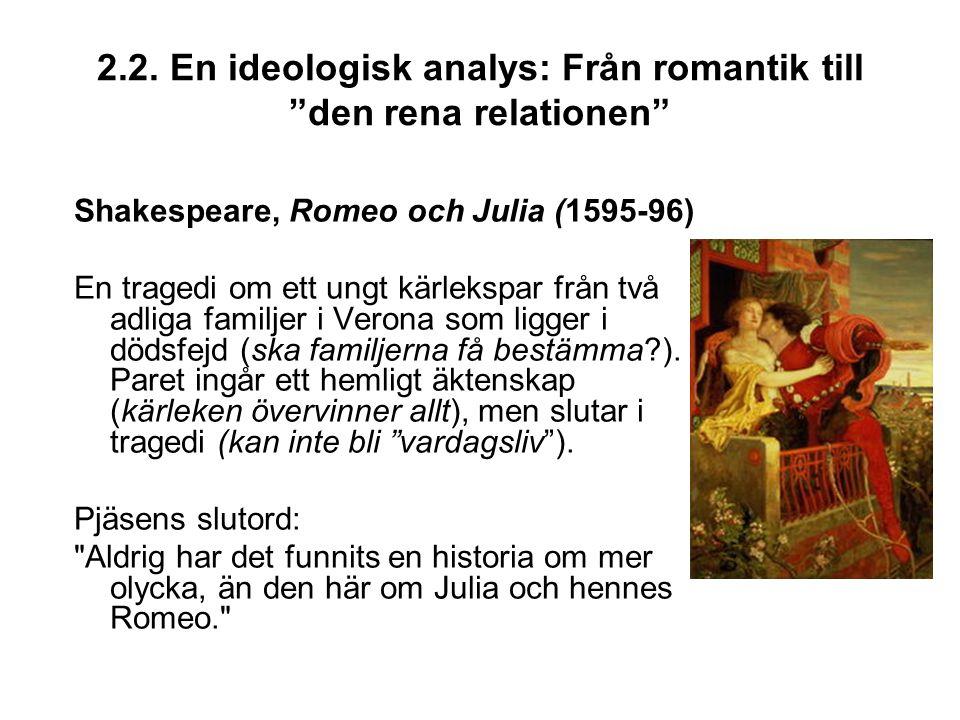 """2.2. En ideologisk analys: Från romantik till """"den rena relationen"""" Shakespeare, Romeo och Julia (1595-96) En tragedi om ett ungt kärlekspar från två"""