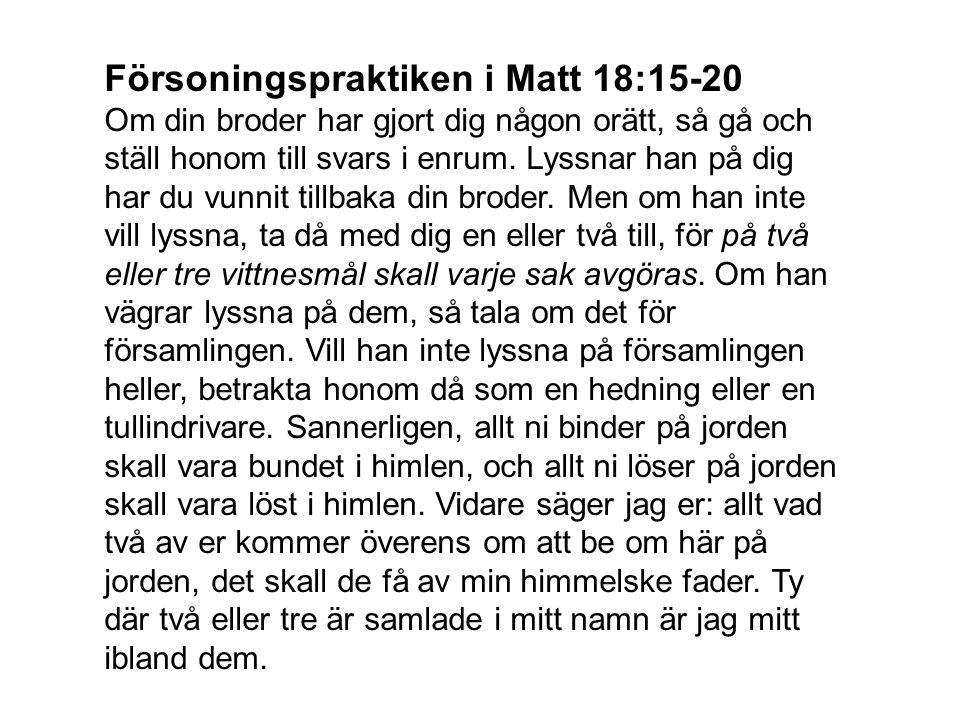 Försoningspraktiken i Matt 18:15-20 Om din broder har gjort dig någon orätt, så gå och ställ honom till svars i enrum. Lyssnar han på dig har du vunni