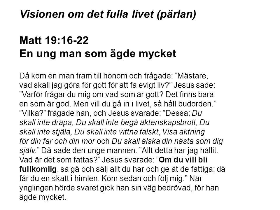 """Visionen om det fulla livet (pärlan) Matt 19:16-22 En ung man som ägde mycket Då kom en man fram till honom och frågade: """"Mästare, vad skall jag göra"""