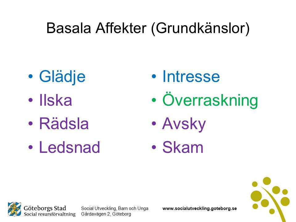 Social Utveckling, Barn och Unga Gårdavägen 2, Göteborg www.socialutveckling.goteborg.se Basala Affekter (Grundkänslor) Glädje Ilska Rädsla Ledsnad Intresse Överraskning Avsky Skam