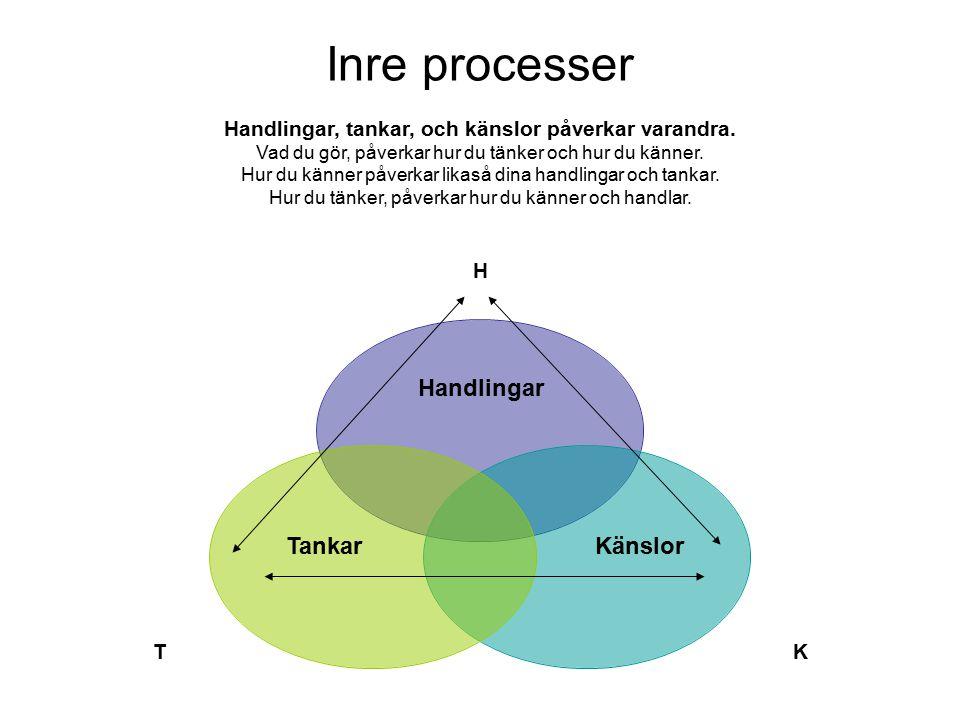 Social Utveckling, Barn och Unga Gårdavägen 2, Göteborg www.socialutveckling.goteborg.se Inre processer H KT Tankar Handlingar Känslor Handlingar, tankar, och känslor påverkar varandra.