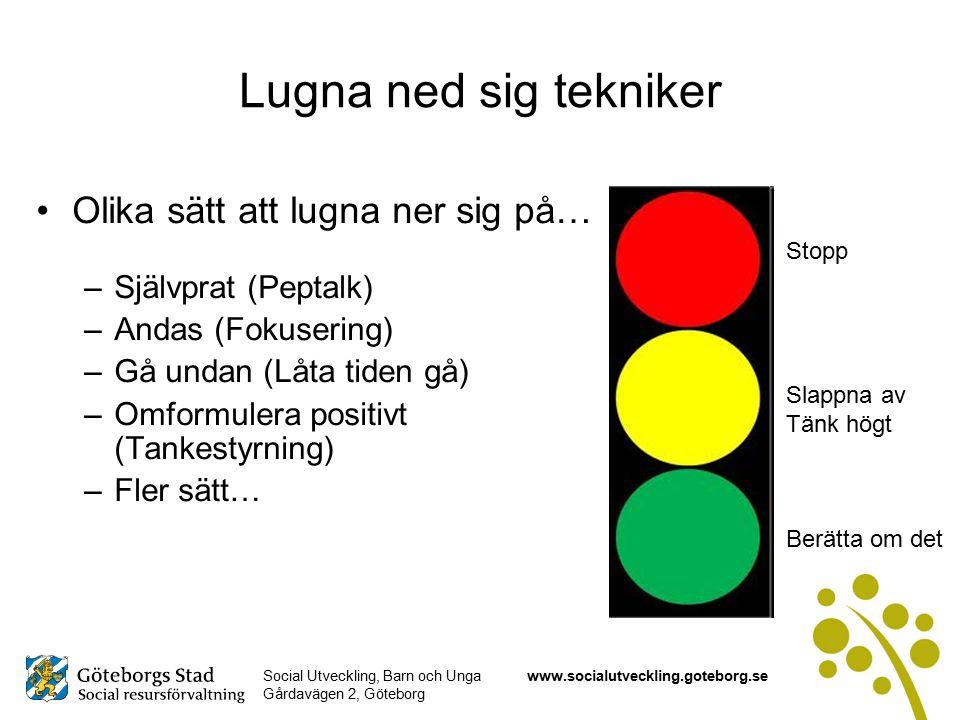 Social Utveckling, Barn och Unga Gårdavägen 2, Göteborg www.socialutveckling.goteborg.se Lugna ned sig tekniker Olika sätt att lugna ner sig på… –Självprat (Peptalk) –Andas (Fokusering) –Gå undan (Låta tiden gå) –Omformulera positivt (Tankestyrning) –Fler sätt… Stopp Slappna av Tänk högt Berätta om det