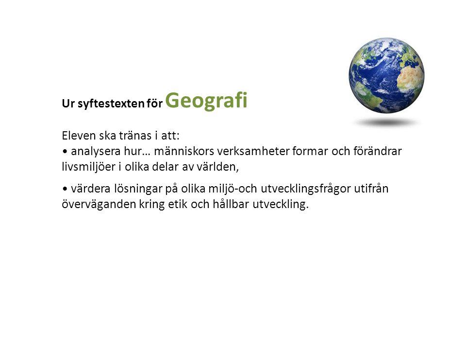 Ur syftestexten för Geografi Eleven ska tränas i att: analysera hur… människors verksamheter formar och förändrar livsmiljöer i olika delar av världen