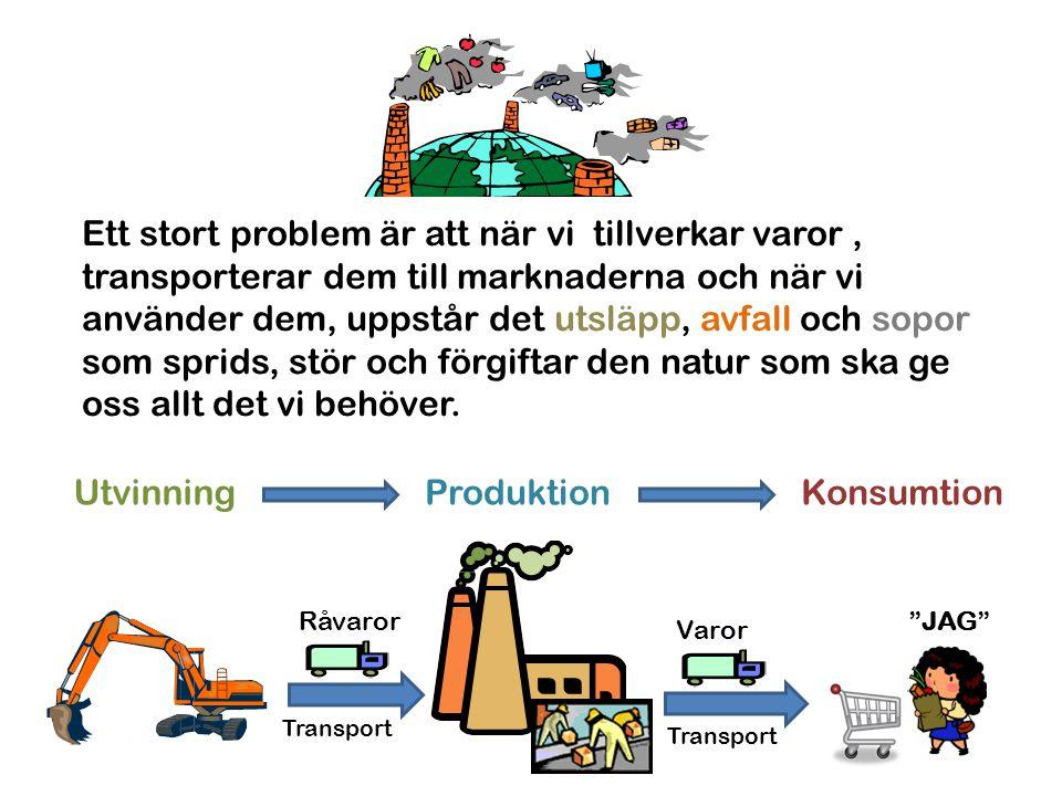 Ett stort problem är att när vi tillverkar varor, transporterar dem till marknaderna och när vi använder dem, uppstår det utsläpp, avfall och sopor so