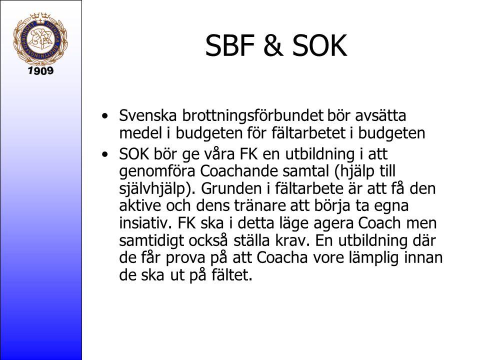 SBF & SOK Svenska brottningsförbundet bör avsätta medel i budgeten för fältarbetet i budgeten SOK bör ge våra FK en utbildning i att genomföra Coachande samtal (hjälp till självhjälp).