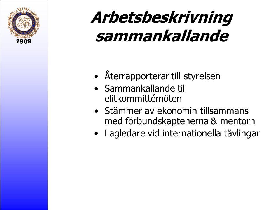 Arbetsbeskrivning sammankallande Återrapporterar till styrelsen Sammankallande till elitkommittémöten Stämmer av ekonomin tillsammans med förbundskaptenerna & mentorn Lagledare vid internationella tävlingar