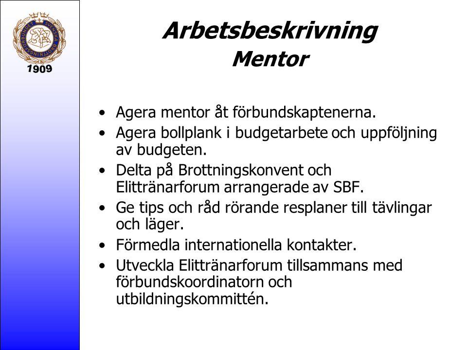 Arbetsbeskrivning Mentor Agera mentor åt förbundskaptenerna.