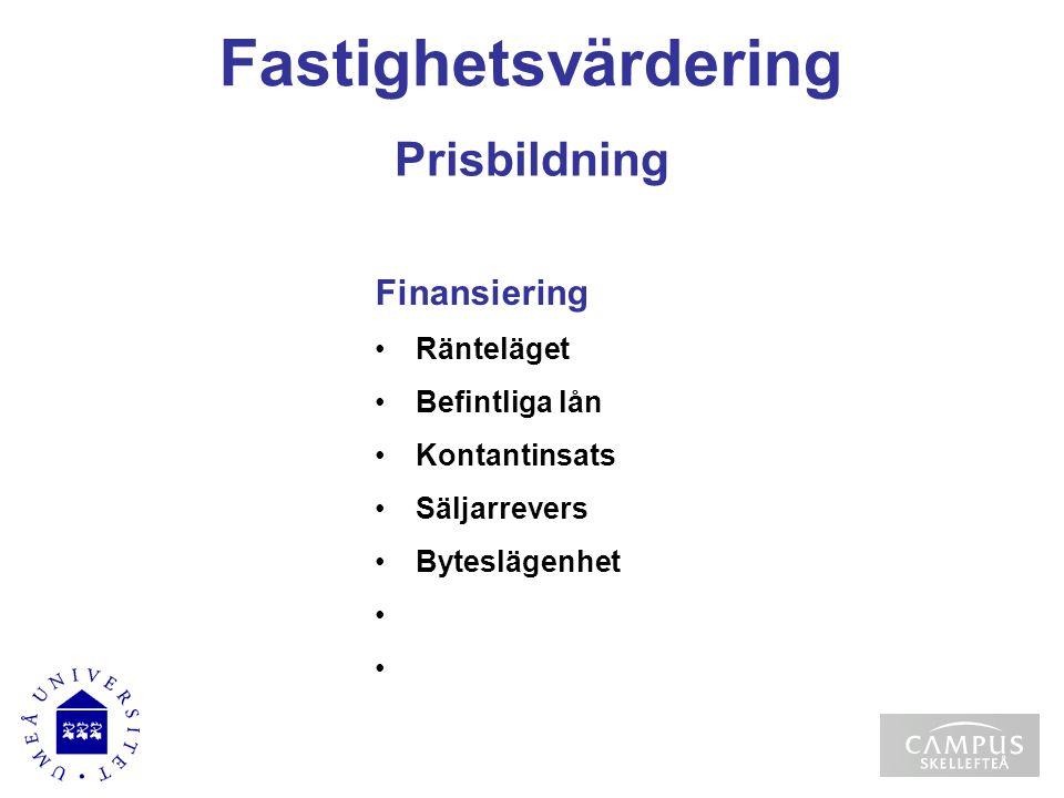 Fastighetsvärdering Prisbildning Finansiering Ränteläget Befintliga lån Kontantinsats Säljarrevers Byteslägenhet