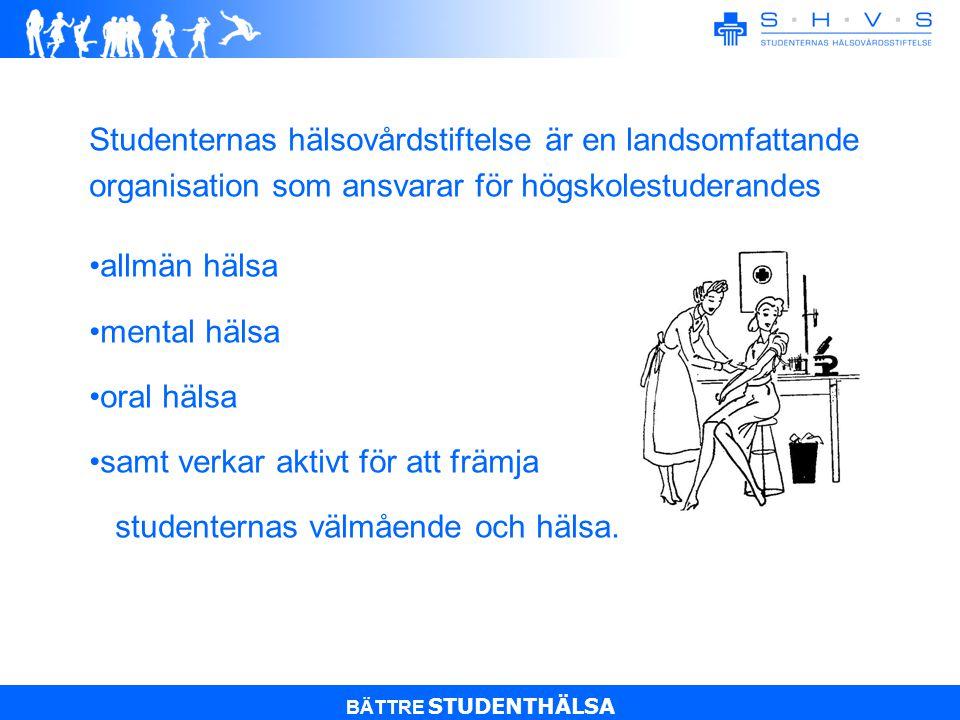BÄTTRE STUDENTHÄLSA TIDSBOKNING OCH BEDÖMNING AV VÅRD BEHOV Allmän hälsa tel.