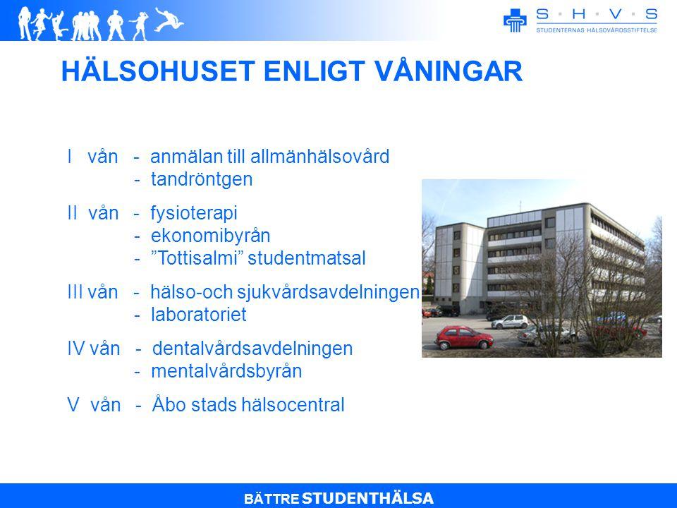BÄTTRE STUDENTHÄLSA HÄLSOHUSET ENLIGT VÅNINGAR I vån - anmälan till allmänhälsovård - tandröntgen II vån - fysioterapi - ekonomibyrån - Tottisalmi studentmatsal III vån - hälso-och sjukvårdsavdelningen - laboratoriet IV vån - dentalvårdsavdelningen - mentalvårdsbyrån V vån - Åbo stads hälsocentral