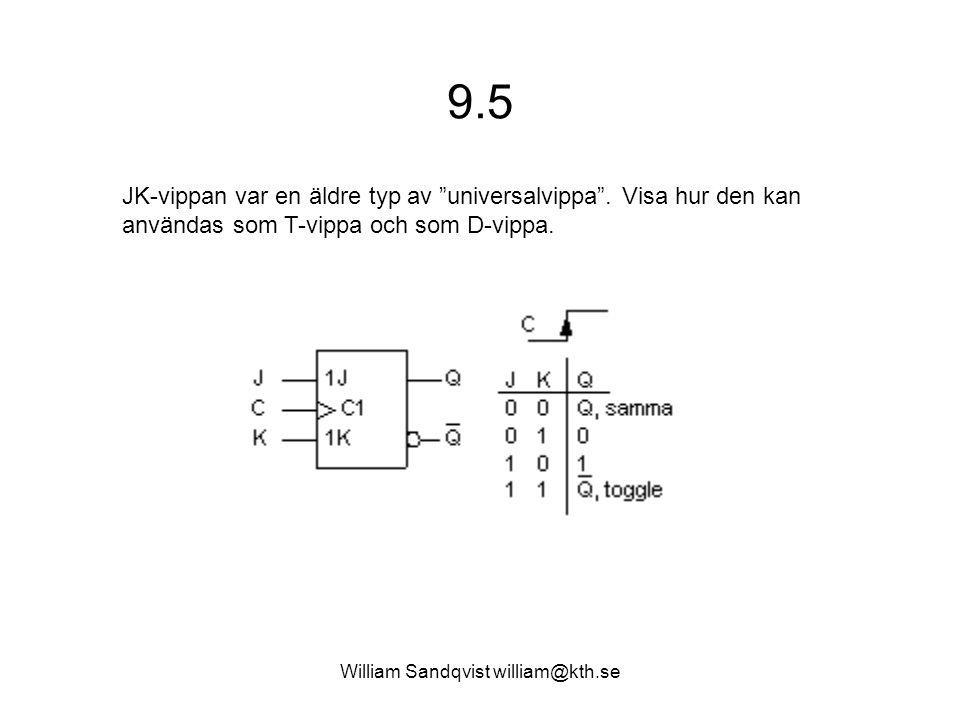 """William Sandqvist william@kth.se 9.5 JK-vippan var en äldre typ av """"universalvippa"""". Visa hur den kan användas som T-vippa och som D-vippa."""