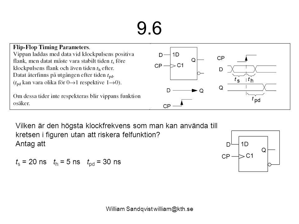 William Sandqvist william@kth.se 9.6 Vilken är den högsta klockfrekvens som man kan använda till kretsen i figuren utan att riskera felfunktion? Antag