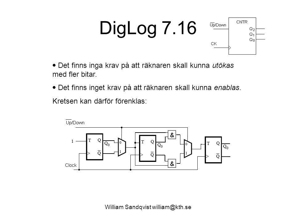 William Sandqvist william@kth.se DigLog 7.16  Det finns inga krav på att räknaren skall kunna utökas med fler bitar.  Det finns inget krav på att rä