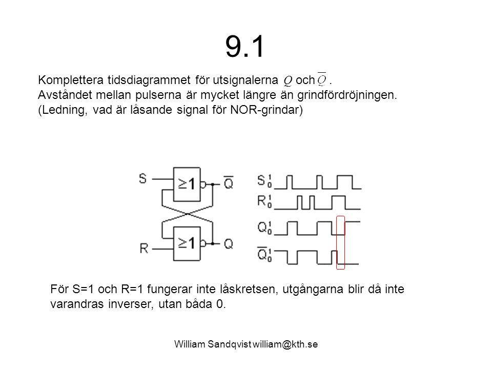 William Sandqvist william@kth.se SR-låskretsens sanningstabell En kort puls S=1 ettställer låskretsen och en kort puls R=1 återställer den.