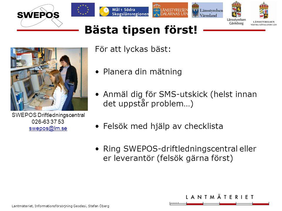 Lantmäteriet, Informationsförsörjning Geodesi, Stefan Öberg Dagens punkter.