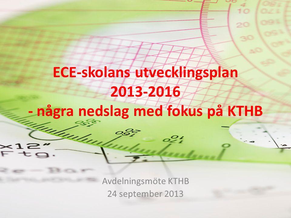 ECE-skolans utvecklingsplan 2013-2016 - några nedslag med fokus på KTHB Avdelningsmöte KTHB 24 september 2013