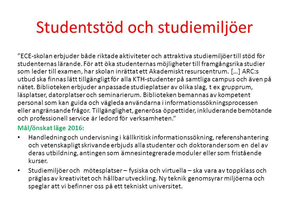Studentstöd och studiemiljöer ECE-skolan erbjuder både riktade aktiviteter och attraktiva studiemiljöer till stöd för studenternas lärande.