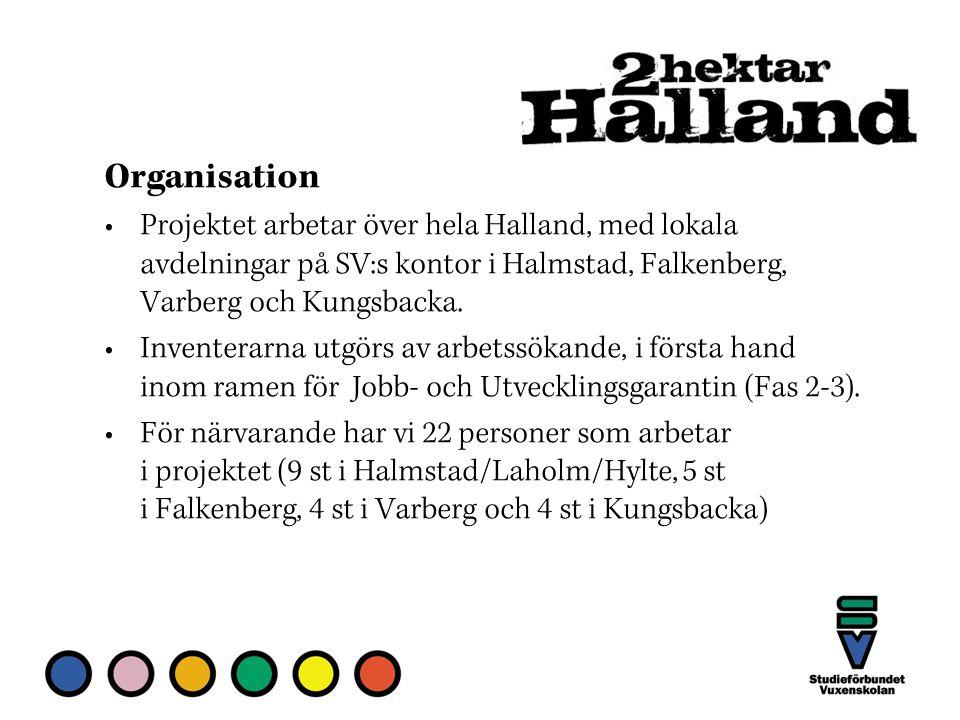 Organisation Projektet arbetar över hela Halland, med lokala avdelningar på SV:s kontor i Halmstad, Falkenberg, Varberg och Kungsbacka.