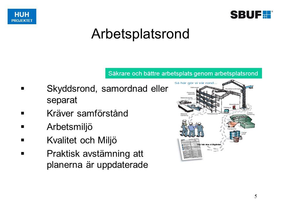 HUH PROJEKTET 5 Arbetsplatsrond Säkrare och bättre arbetsplats genom arbetsplatsrond  Skyddsrond, samordnad eller separat  Kräver samförstånd  Arbe
